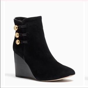 Kate Spade Geraldine Black Suede Wedge Ankle Boots
